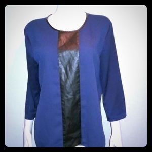 NWOT Ann Taylor Navy Blue & Faux Leather Top